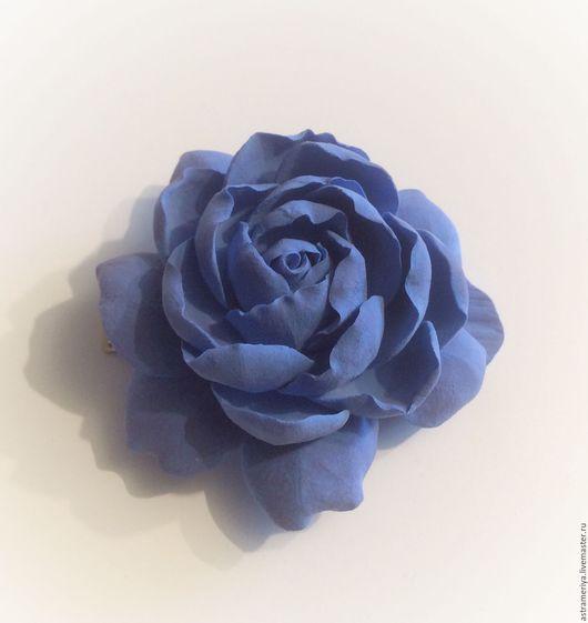 Заколки ручной работы. Ярмарка Мастеров - ручная работа. Купить Заколка цветок из полимерной глины голубой пион. Handmade. Синий