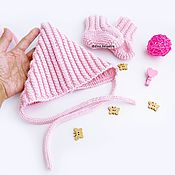 Работы для детей, handmade. Livemaster - original item knitted set of beanie and booties for girls pink. Handmade.