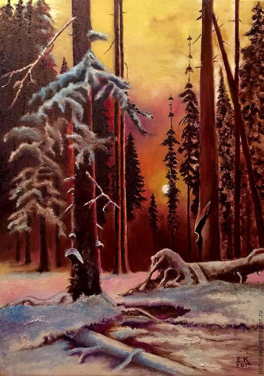Пейзаж ручной работы. Ярмарка Мастеров - ручная работа. Купить Картина маслом на холсте Зимний Лес Закат. Handmade. Оранжевый