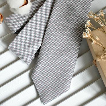 Аксессуары ручной работы. Ярмарка Мастеров - ручная работа Галстук мужской Серо-розовая лапка / галстук Классика. Handmade.