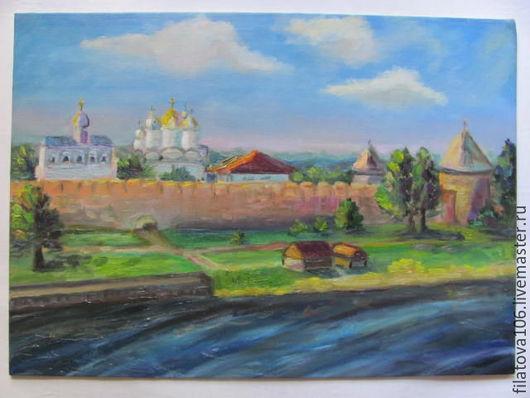 Пейзаж ручной работы. Ярмарка Мастеров - ручная работа. Купить Прогулки по Новгороду. Handmade. Комбинированный, летний пейзаж, холст на картоне