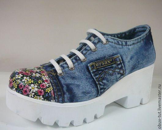 Обувь ручной работы. Ярмарка Мастеров - ручная работа. Купить Джинсовые женские туфли нa шнуркaх кожaнные 36,37,38,39,40 Киев. Handmade.