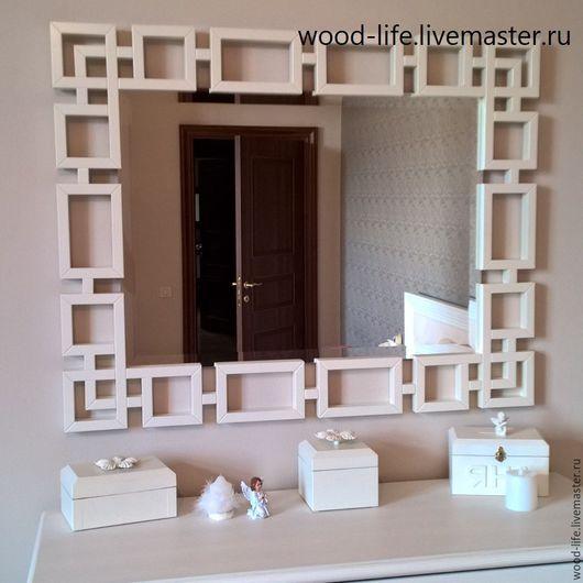 """Зеркала ручной работы. Ярмарка Мастеров - ручная работа. Купить Зеркало """"Белый КУБ"""". Handmade. Белый, зеркало в деревянной раме"""