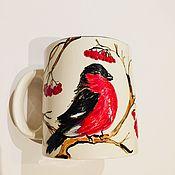Посуда ручной работы. Ярмарка Мастеров - ручная работа Снегири и рябина чашка керамическая ручной работы. Handmade.