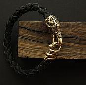 Украшения handmade. Livemaster - original item Leather bracelet with Raven. Handmade.