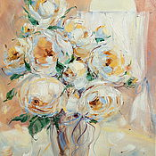 Картины и панно handmade. Livemaster - original item oil painting on canvas with stretcher. Creamy roses. A bouquet of roses. Handmade.