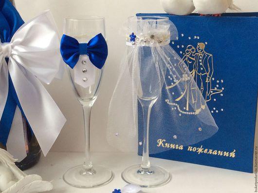 Свадебные аксессуары ручной работы. Ярмарка Мастеров - ручная работа. Купить Украшение на бокалы ( съёмное ) синий цвет. Handmade.