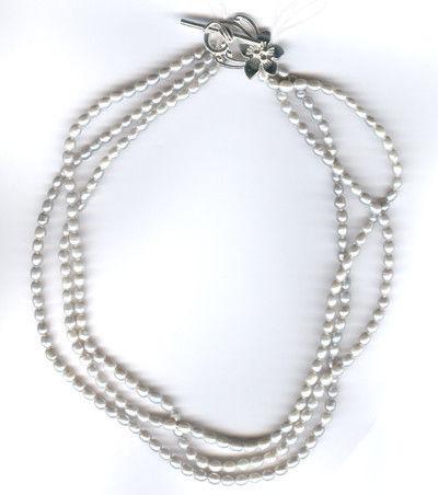 Necklaces & Beads handmade. Livemaster - handmade. Buy Beads three-row natural pearl silver.