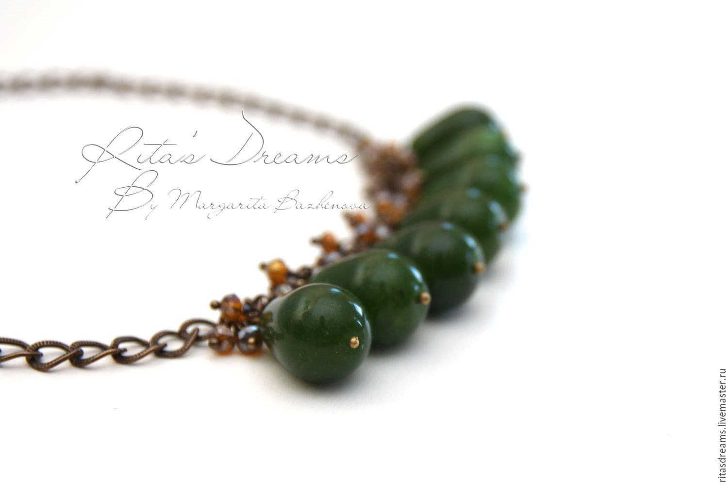 Chain necklace with a gorgeous large jade rich color of green grass complemented by small faceted brownish yellow crystals with a Sunny amber glow.