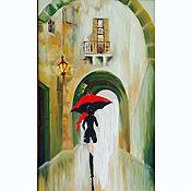 Картины и панно handmade. Livemaster - original item Picture of a Girl with a red umbrella rain. Handmade.