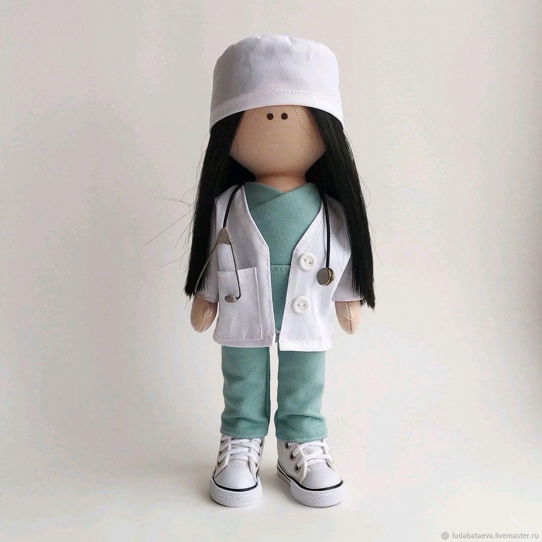 Кукла текстильная интерьерная доктор. Кукла врач, Куклы и пупсы, Чайковский,  Фото №1
