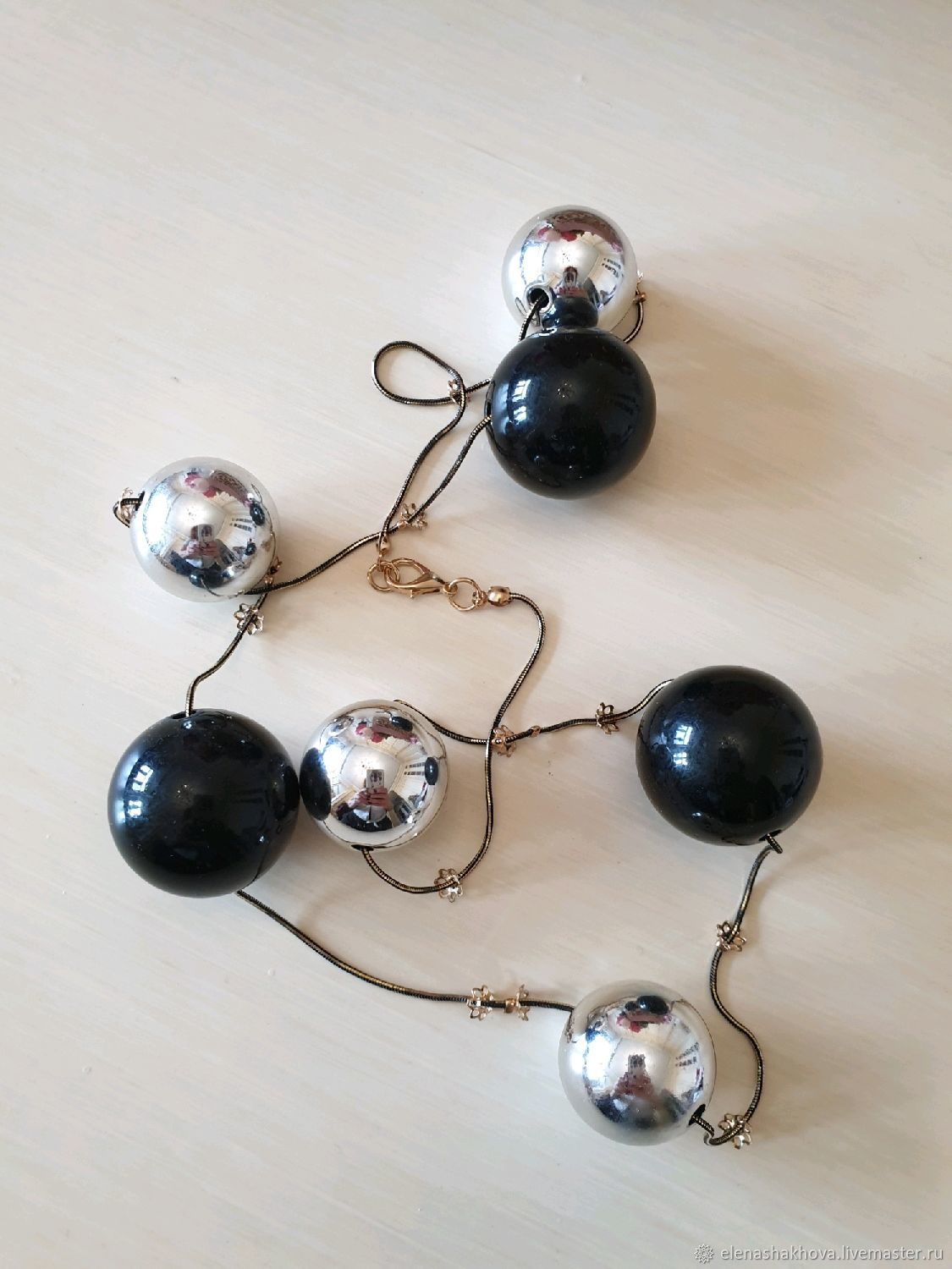 Black and silver beads, Vintage necklace, Moscow,  Фото №1