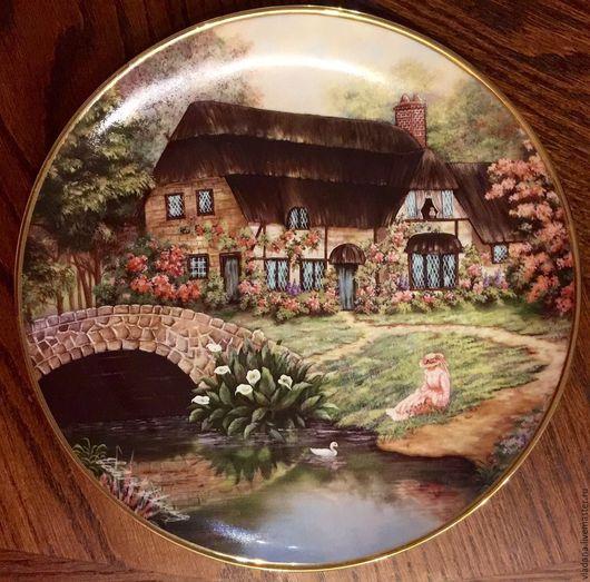 """Винтажные предметы интерьера. Ярмарка Мастеров - ручная работа. Купить Коллекционная тарелочка Franklin Mint  """"Cottage at Brookside"""".. Handmade."""