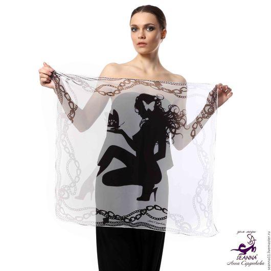 Дизайнер Анна Сердюкова (Дом Моды SEANNA).  Эффектный платок из шифона с авторским принтом `Бабочки и девушка`. Размер платка - 75х75 см.  Цена - 2900 руб.