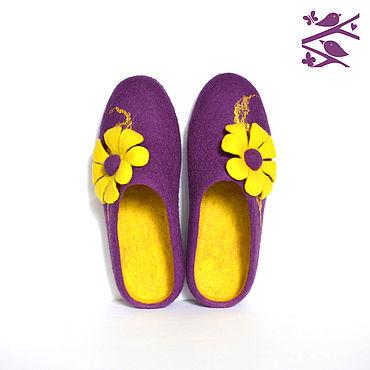 """Обувь ручной работы. Ярмарка Мастеров - ручная работа Тапочки """"Фиолетовые"""". Handmade."""