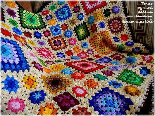 """Текстиль, ковры ручной работы. Ярмарка Мастеров - ручная работа. Купить Вязаный плед """"В стране чудес"""". Handmade. Разноцветный"""