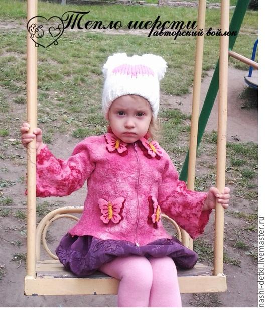 """Одежда для девочек, ручной работы. Ярмарка Мастеров - ручная работа. Купить Кофта валяная детская """"Бабочки"""". Handmade. Розовый"""