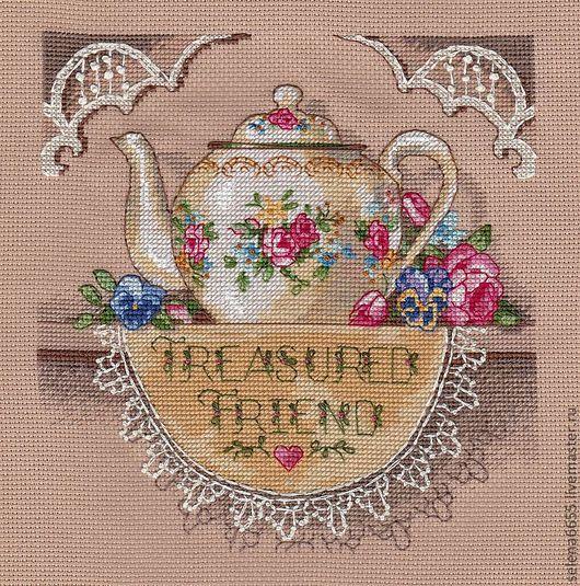 """Натюрморт ручной работы. Ярмарка Мастеров - ручная работа. Купить Вышитая картина """"Кружевной чайничек"""". Handmade. Вышивка, кухонный интерьер"""