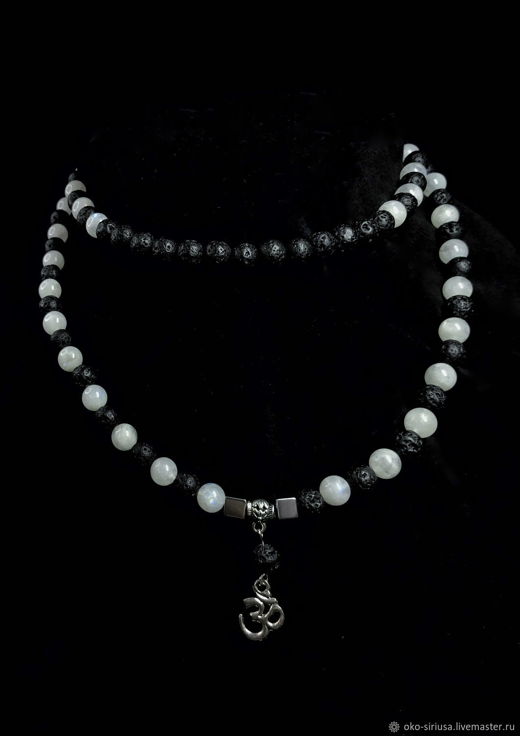 Moonstone and Lava beads 108b, Rosary, Moscow,  Фото №1