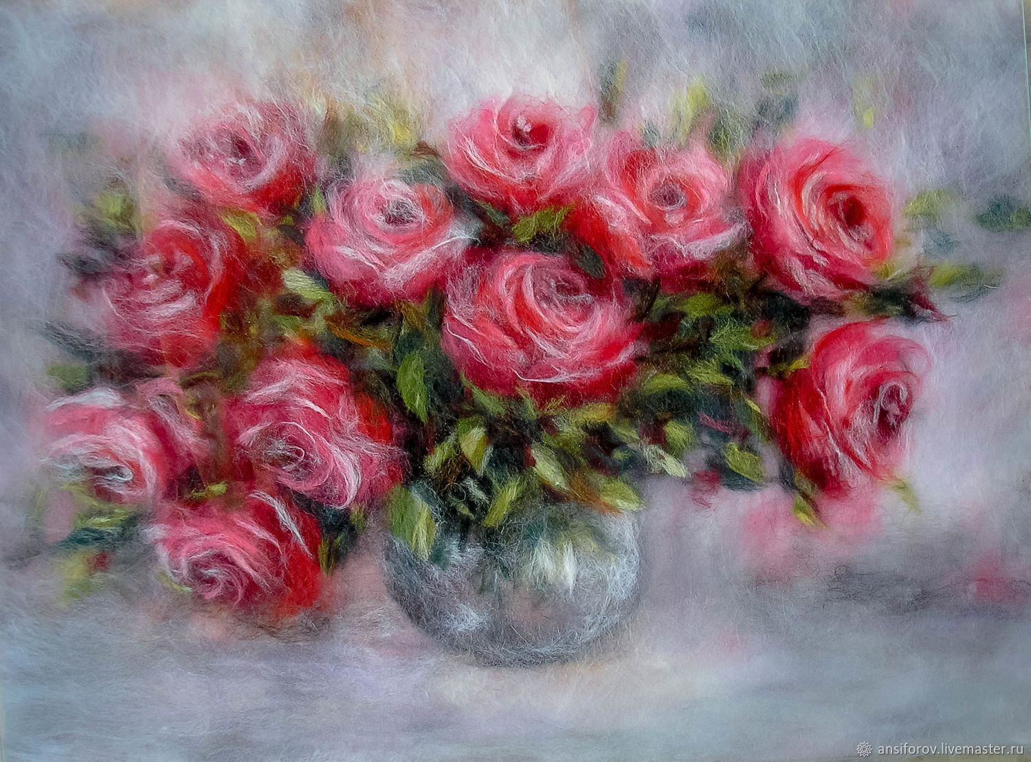 Picture of wool a Bouquet of roses in a vase, Pictures, Engels,  Фото №1