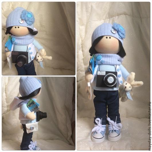 Куклы тыквоголовки ручной работы. Ярмарка Мастеров - ручная работа. Купить Интерьерная текстильная кукла большеножка Путешественница. Handmade. Голубой