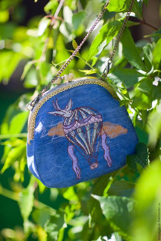 Женские сумки ручной работы. Ярмарка Мастеров - ручная работа. Купить Сумка на фермуаре с вышивкой Воздушный шар. Handmade. Рисунок