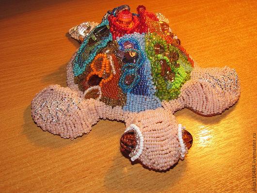 Статуэтки ручной работы. Ярмарка Мастеров - ручная работа. Купить бисерная черепаха. Handmade. Бисер, статуэтка, проволочный каркас, бисер