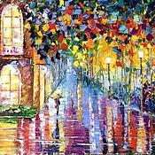 """Картины и панно ручной работы. Ярмарка Мастеров - ручная работа картина """"Мокрая ночь"""". Handmade."""