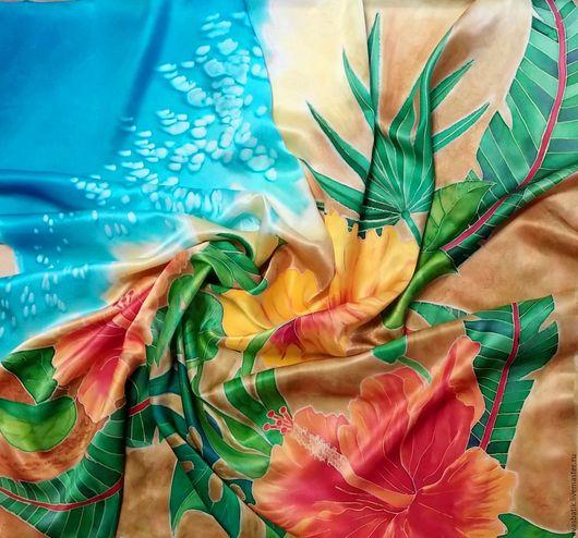 Платок шёлковый батик Тропики купить. Ручная роспись, шелковый платок на шею, шелковый платок на голову, шелковый платок батик, подарок девушке, подарок на день рождения, подарок на любой случай.