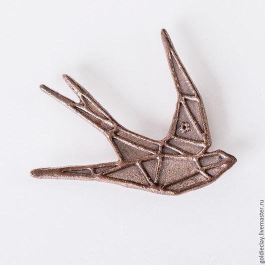Броши ручной работы. Ярмарка Мастеров - ручная работа. Купить Брошь Ласточка - Origami SWALLOW (30мм). Handmade. Брошь, брошка