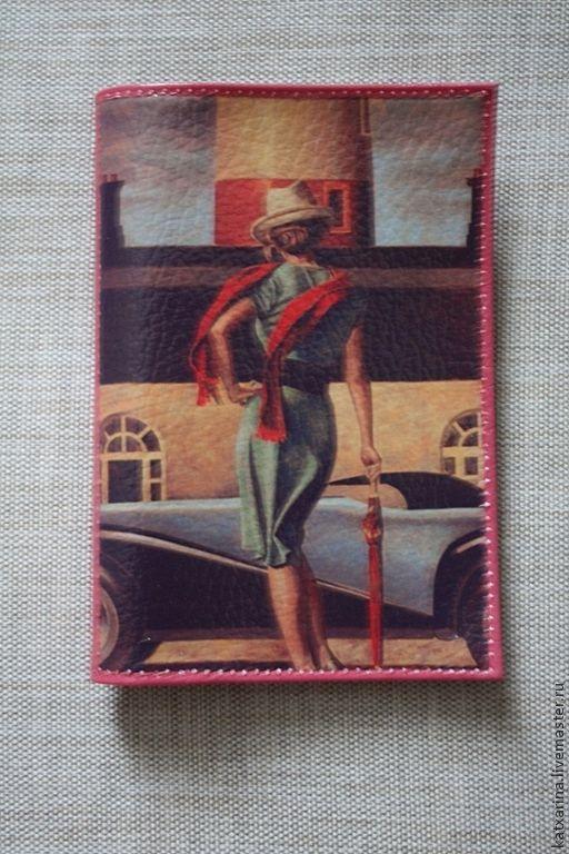 """Обложки ручной работы. Ярмарка Мастеров - ручная работа. Купить Обложка на паспорт """"Девушка с красным шарфом"""". Handmade. Коралловый"""