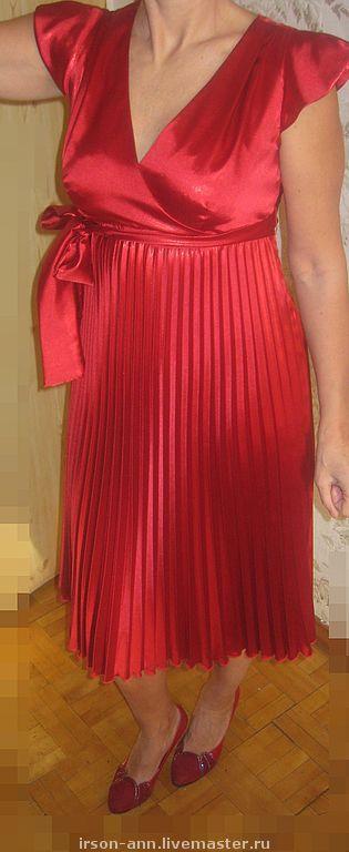 """Платья ручной работы. Ярмарка Мастеров - ручная работа. Купить Платье """"Алая заря"""". Handmade. Плиссе, авторское платье, атлас"""