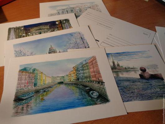 Город ручной работы. Ярмарка Мастеров - ручная работа. Купить Почтовые открытки. Handmade. Почтовая открытка, репродукция