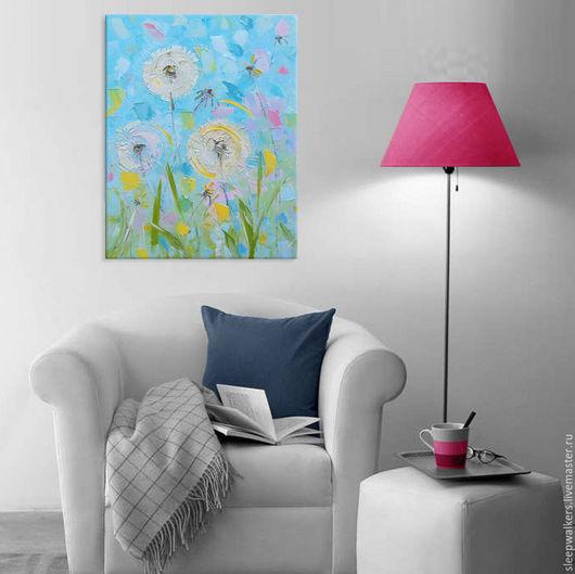 """Картины цветов ручной работы. Ярмарка Мастеров - ручная работа. Купить """"Одуванчики"""" 55х70 см картина маслом мастихином цветы розовая. Handmade."""