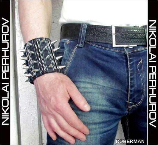 """Украшения для мужчин, ручной работы. Ярмарка Мастеров - ручная работа. Купить БРАСЛЕТ  """"DOBERMAN"""". Handmade. Тёмно-синий, джинсовые украшения"""