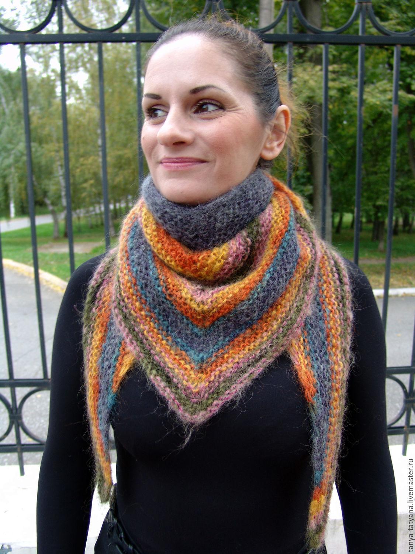 бактус вязаный треугольный шарф шейный платок мохеровый ласка