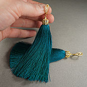 Серьги-кисти ручной работы. Ярмарка Мастеров - ручная работа Серьги-кисти сине-зелёные (11 см). Handmade.