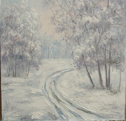 Пейзаж ручной работы. Ярмарка Мастеров - ручная работа. Купить зима утром. Handmade. Голубой, картина в подарок, картина