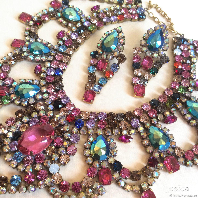 Bijoux MG Czech Republic pink fantasy necklace and earrings set, Vintage jewelry sets, Ramenskoye,  Фото №1