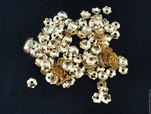 ШЗ-03 Шапочки для бусин цвет золото размер 3,5*1мм