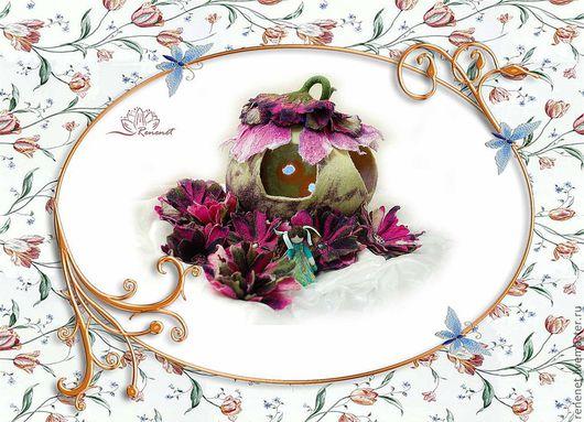 """Кукольный дом ручной работы. Ярмарка Мастеров - ручная работа. Купить Валяная развивающая игрушка """"Домик для цветочной феи"""". Handmade."""