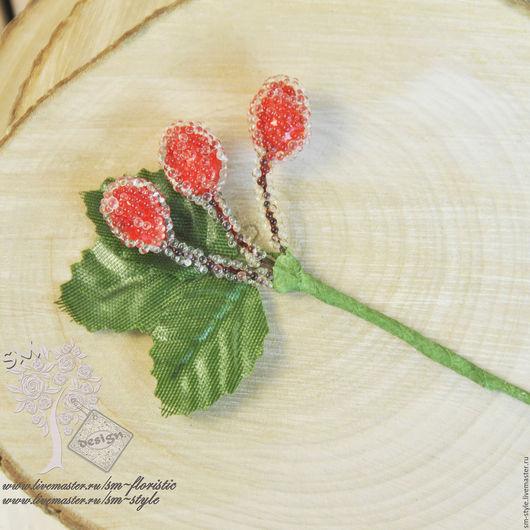 Материалы для флористики ручной работы. Ярмарка Мастеров - ручная работа. Купить Ветка с тройной красной ягодой 3385. Handmade.