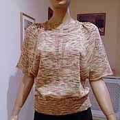 Одежда ручной работы. Ярмарка Мастеров - ручная работа Кофточка вязаная летняя из хлопка с протяжками. Handmade.