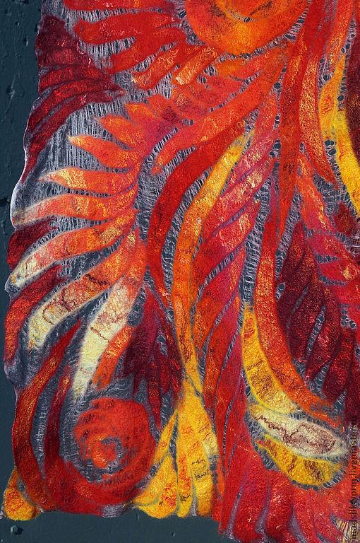 """Шали, палантины ручной работы. Ярмарка Мастеров - ручная работа. Купить """"Феникс"""" тонкий нарядный палантин. Handmade. Яркие цвета"""