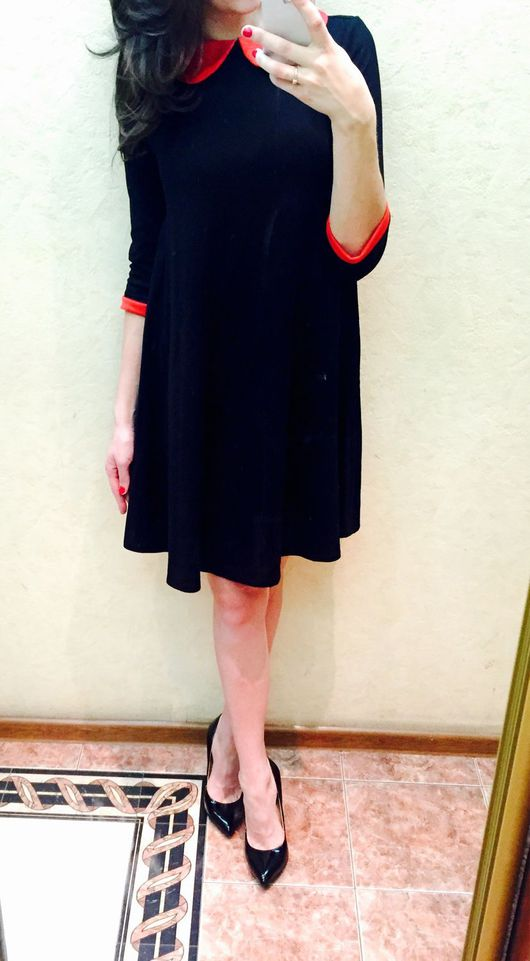 Платья ручной работы. Ярмарка Мастеров - ручная работа. Купить Черное свободное платье с красным воротником. Handmade. Черный