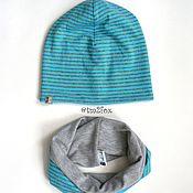 Работы для детей, ручной работы. Ярмарка Мастеров - ручная работа Комплект шапка и снуд для мальчика. Handmade.