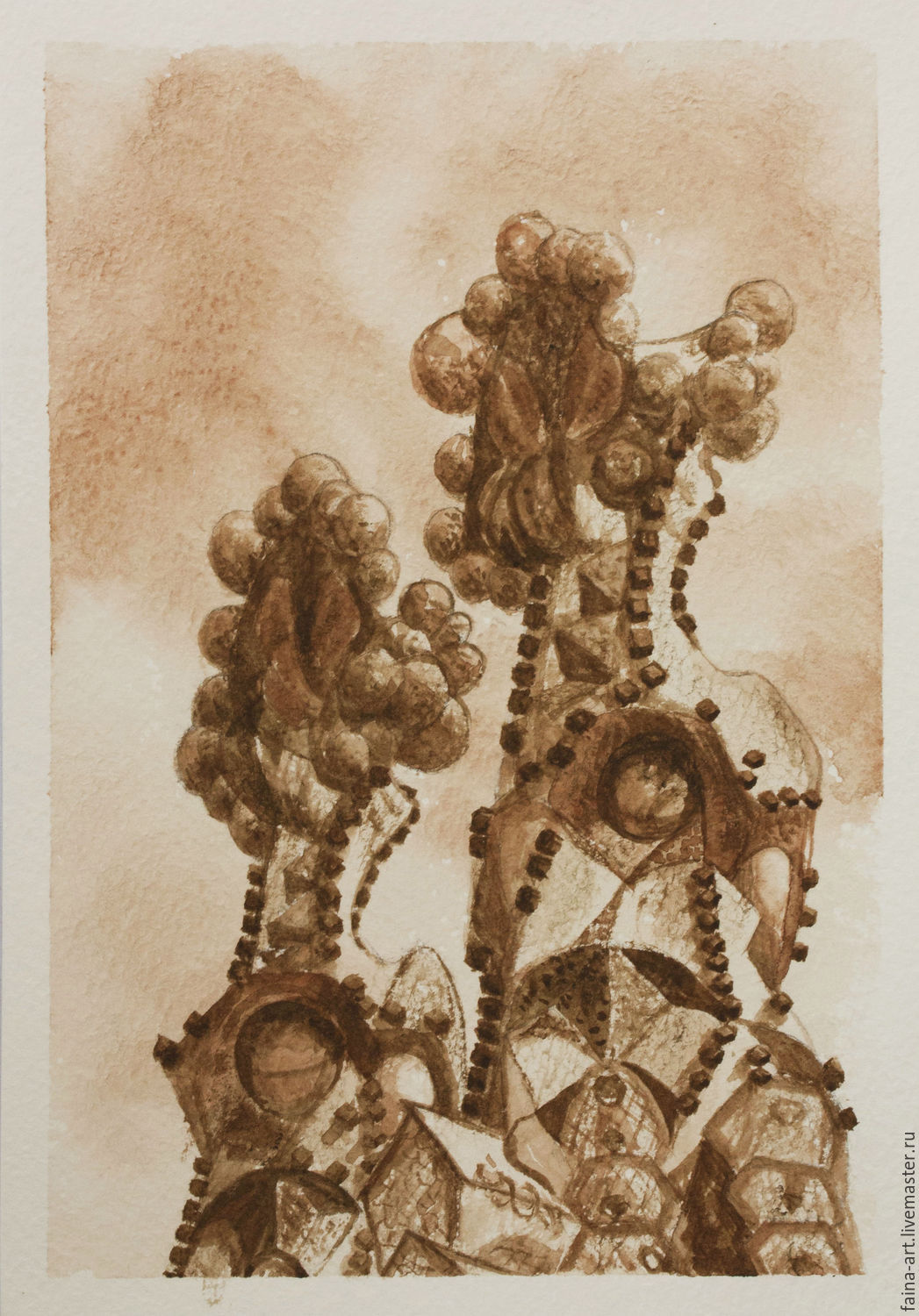 My Barcelona, watercolor, grisaille, Sepia, Gaudi, a series of watercolors, Pictures, Novosibirsk,  Фото №1