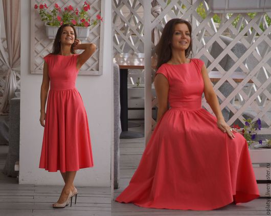 миди платье, вечернее платье, летнее платье, роскошное платье, платье миди красивое, красивое длинное платье, красивое платье, платье миди с рукавом, коралловое платье, платье в пол, стильное платье