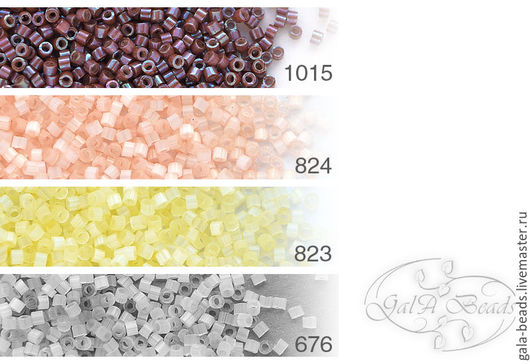 1015   opaque metallic luster rainbow cherry  824    silk peach  823    silk light yellow  676    silk pale lavender