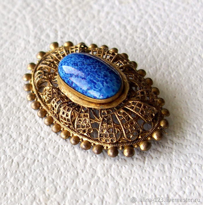 Charming brooch with imitation lapis lazuli glass 2, Vintage brooches, Obninsk,  Фото №1